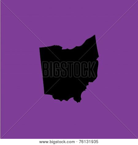 Coloured Background With The Shape Of The United States State Of Ohio