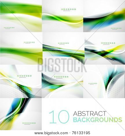 Business collection of flowing wave corporate abstract background, flyer, brochure design template
