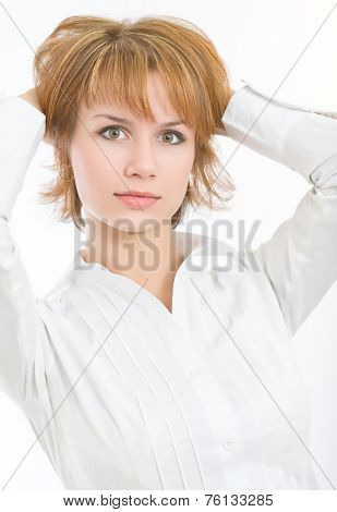 attractive woman in a white shirt
