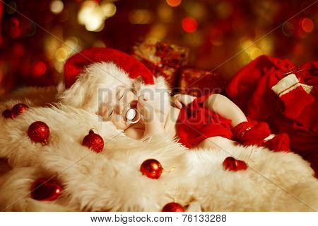 Christmas Baby, New Born Kid Sleeping As Xmas Gift In Santa Hat, Newborn Child Dreams