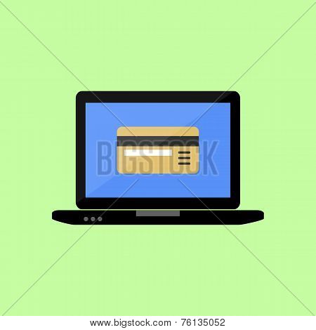 Flat style laptop with bank card