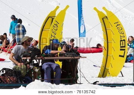 SOCHI, RUSSIA - MARCH 22, 2014: Party in the ski resort, MC entertains tourists