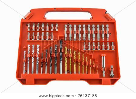 Set Of Metal Drill Bits In Orange Box