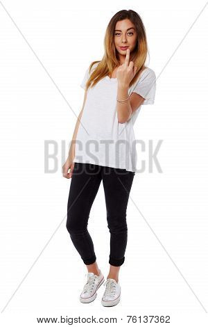 Casual Young Woman Giving A Rude Gesture