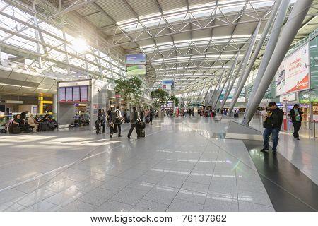 DUSSELDORF- SEP 16: airport interior on September 16, 2014 in Dusseldorf, Germany. Dusseldorf Airport is the international airport of Dusseldorf, the capital of the German state North Rhine-Westphalia