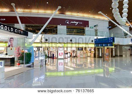 KUALA LUMPUR-MAY 06: airport interior on MAY 06, 2014 in Kuala Lumpur, Malaysia. Kuala Lumpur International Airport is Malaysia's main airport and one of the major airports of South East Asia
