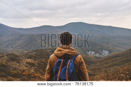 Man Looking On Mountains, Rear View