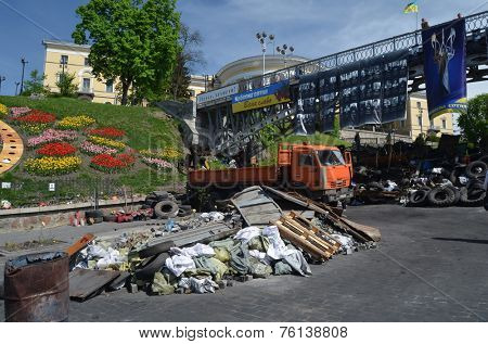 KIEV, UKRAINE - APR 28, 2014:Vandalism in downtown. Kiev under occupation of peasants from Western Ukraine.They want to be in EU. Putsch of Junta in Kiev.April 28, 2014 Kiev, Ukraine