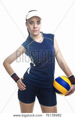 Caucasian Professional Female Volleyball Player Equipped In Volleyball Outfit Holding Ball