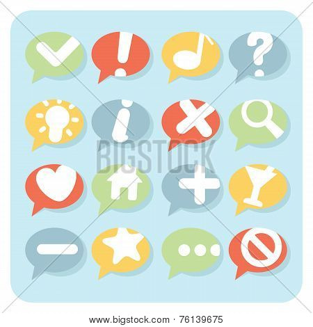 Flat Style Navigation Icons Speech Bubbles
