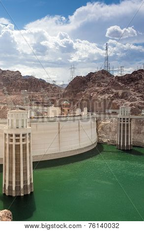 Hoover Dam And Penstock Towers In Lake Mead Of The Colorado River On The Border Of Arizona And Nevad