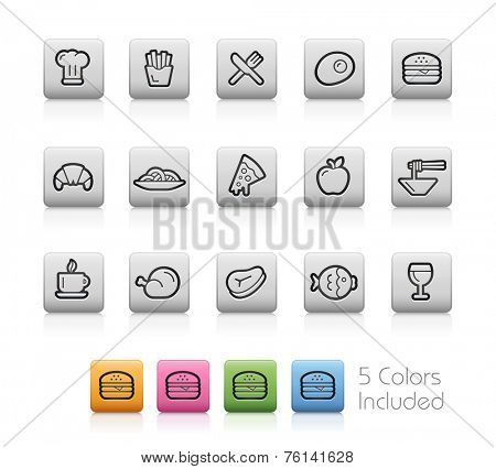 Food and Drinks 1 // Outline Buttons  ++ Each color in a layer - To select only the desired color, we suggest to block the others colors on the Layer Panel�¨++  EPS 10+