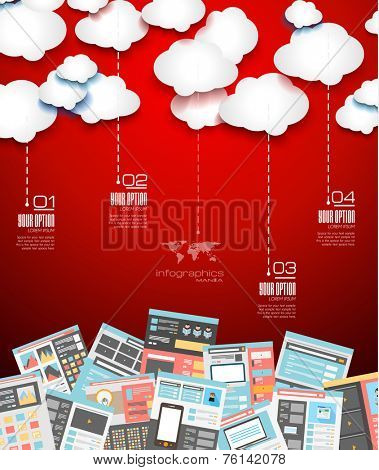 Ideal Cloud technology background with Flat style. A lot of design elements are included: computers, mobile devices, desk supplies, pencil,coffee mug, sheeets,documents and so on
