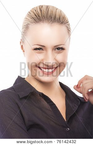 Natural Portrait Of Happy Young Flitring Caucasian Model Happily Smiling