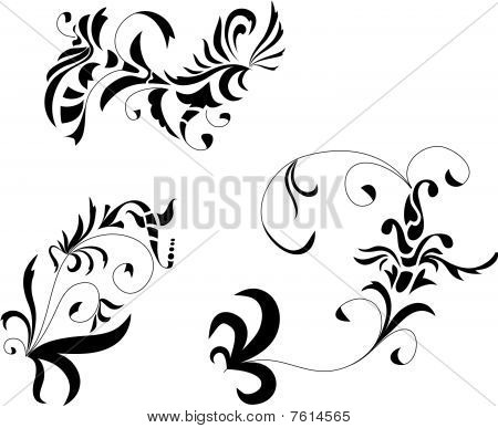 Ornaments imitation baroque ink drawing.