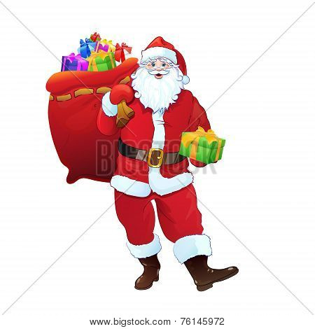 Santa Claus gift box sack full of christmas holiday present