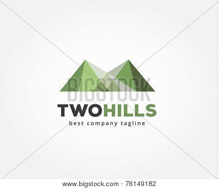 Abstract green hills  vector logo icon concept