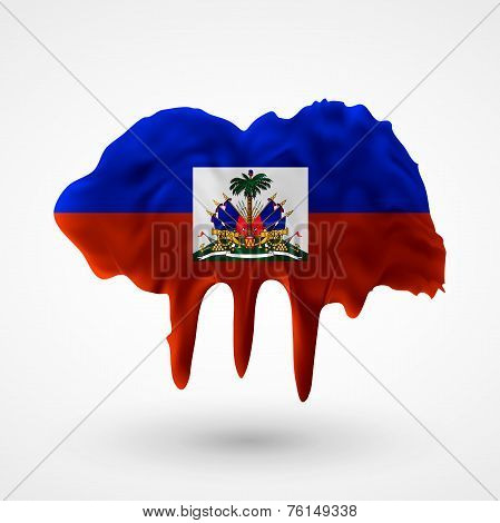 Flag of Haiti painted colors