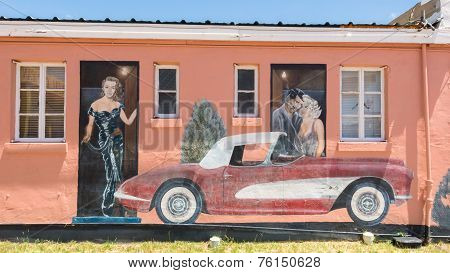 Route 66: Clark Gable,  Carol Lombard, and  Corvette Mural, Blue Swallow Motel, Tucumcari, NM