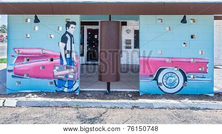 Route 66: Mural Depicts Elvis Presley And Pink Cadillac At The Safari Motel, Tucumcari, NM