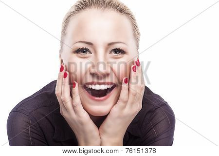 Excited Caucasian Woman Looking Forward  With Joy, Fascination And Obsession. Closeup Portrait.isola