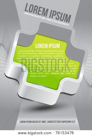 Abstract vector background of brochure with green cross and place for text