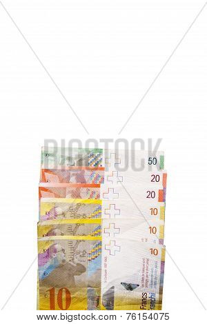 Edge Of Swiss Francs Currency Stack With Copy Space