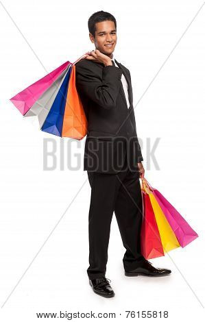 Smart Young Man With Shopping Bags.