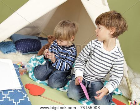 Kids Arts And Crafts Activity, Playing In Teepee Tent