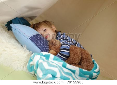 Child Taking A Nap, Resting In A Play Tent