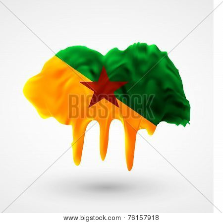 Flag of Guiana painted colors