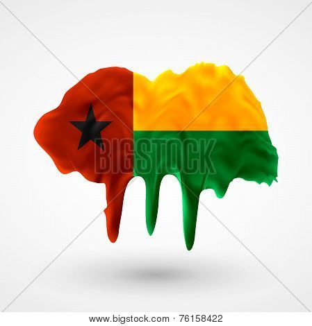 Flag of Guinea Bissau painted colors