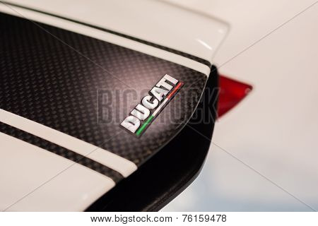 Close-up Of Ducati Logo Motorcycle
