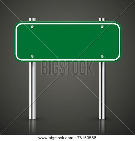 3D Blank Green Traffic Road Sign