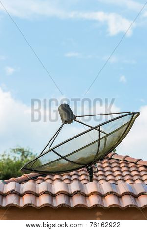 Satellite Of Telecommunication On Roof