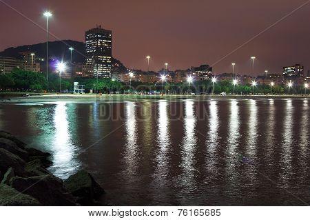 Night View Of Beach Flamengo, Guanabara Bay,  Rio De Janeiro, Brazil