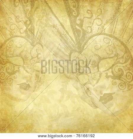 Vintage Golden Background With Venetian Masks
