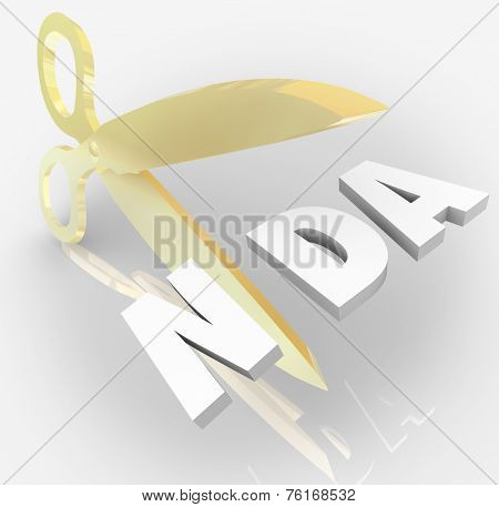 NDA Non-Disclosure Agreement 3d letters in an acronym  cut by scissors to illustrate violation or breaking contract or restriction on sharing trade secrets