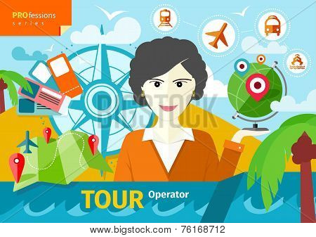 Female travel agent holding globe with pointers