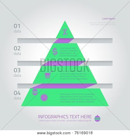 Flat infographic triangle fir template with arrows