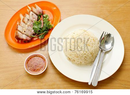 Bbq Pork And Crispy Pork With Rice.