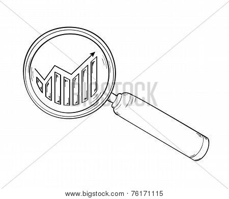 Magnifying Glass And Chart With Arrow