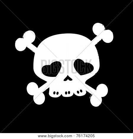 skull on crossbones, black and white