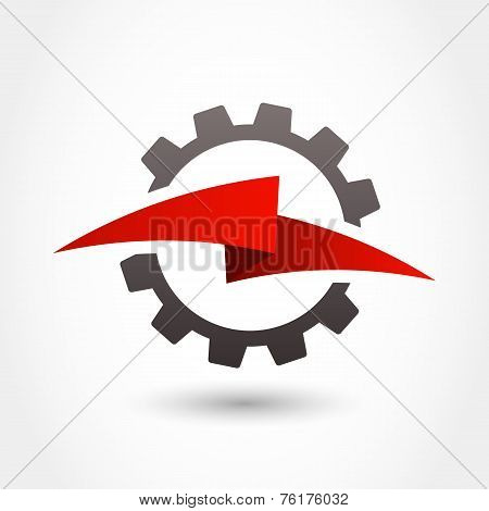 Vector Logo Design Template. Gear And Lightning Shape, Business Technology Abstract Symbol
