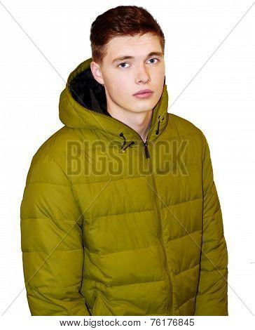 male model in yellow jacket