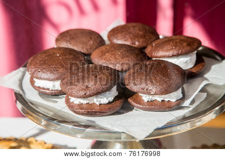 Whoopie Pies In Window Of A Maine Bakery