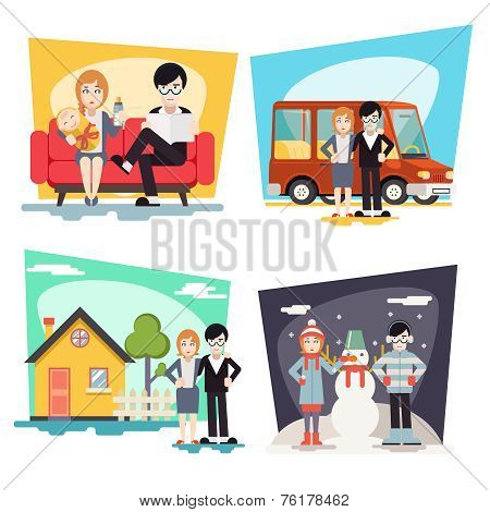 Happy Family Geek Hipster Characters Life Situations Always Love Together Child Couch House Car Wint