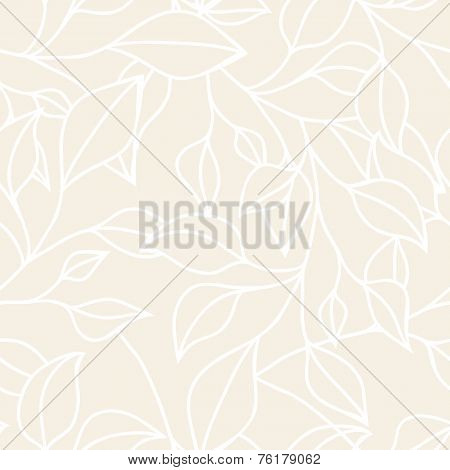 Floral Seamless Pattern With Leaf. Vector Neutral Pastel  Background