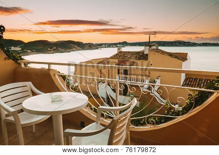 Rural Balcony With Seawiews In Majorca, Spain