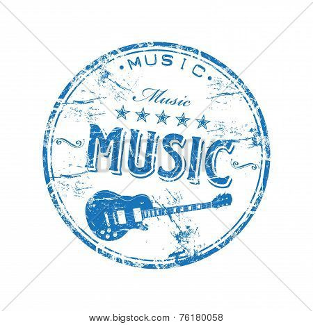 Music grunge rubber stamp